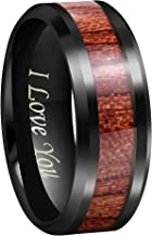 CROWNAL 4mm 8mm Rare Koa Wood/Abalone Shell/Genuine Crushed Fire Opal Inlay Tungsten Carbide Ring Men Women Wedding Band High Polished Engraved I Love You Size 7 to 17