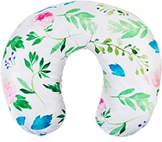 BORITAR Nursing Pillow Slipcover Minky for Boys and Girls, Super Soft Classic Nursing Pillow Cover with Beauty Floral Pattern Printed and White Dotted Backing