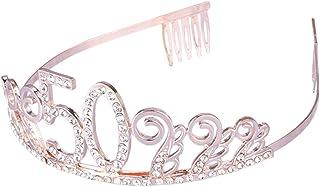 Frcolor, diadema con cristalli e pettini in oro rosa con strass corone regina principessa accessori per capelli (50° compl...