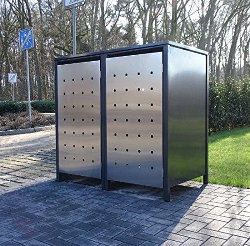 2 Mülltonnenboxen Edeldesign No.1 für 120 Liter Mülltonnen Anthrazit - Edelstahl / witterungsbeständig durch Pulverbeschichtung / mit Klappdeckel und Fronttür aus Edelstahl
