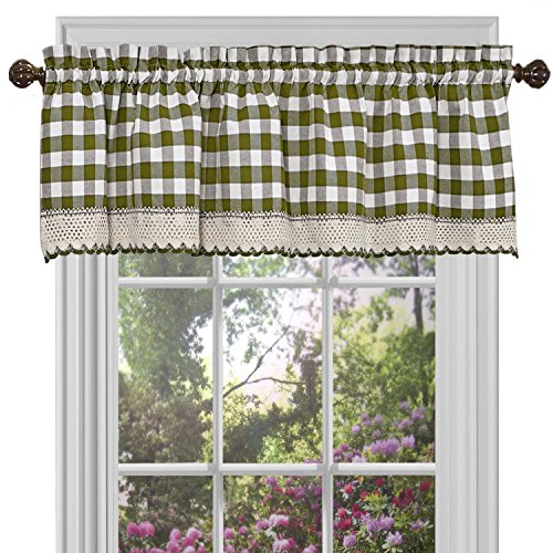 "Woven Trends Farmhouse Curtains Kitchen Décor, Buffalo Plaid Valance, Classic Country Plaid Gingham Checkered Design, Farmhouse Décor, Window Curtain Treatments (Sage, 58"" W x 14"" H Valance)"