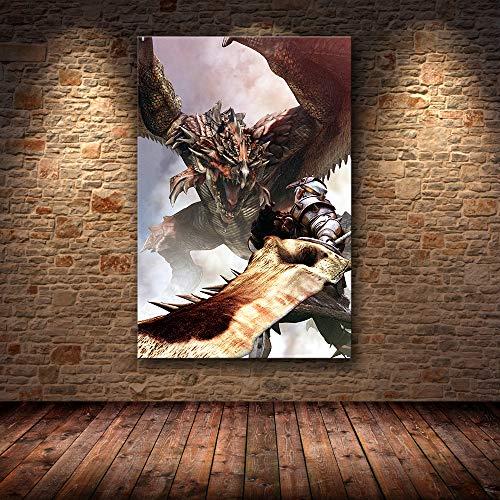 H/F Juego Clásico Monster Hunter World Cartel De Lienzo De Arte HD DIY Estilo Nórdico Bar Cafetería Decoración Mural Pintura Al Óleo Sin Marco40X60Cm 6626L