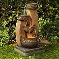 "John Timberland Outdoor Floor Water Fountain Four Bowl Cascading Waterfall 41"" Tall for Yard Garden Lawn"