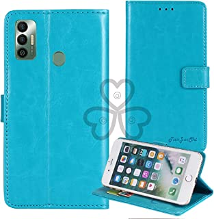 TienJueShi Blue Book Stand Retro Flip Leather Protector Phone TPU Silicone Case For Tecno Spark 7 Pro 6.6 inch Gel Cover E...