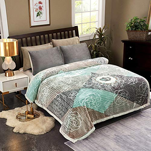JML Plush Raschel Blanket, Korean Mink Blankets - Silky Soft, 2 Ply Printed Fleece Blanket (Patchwork, Queen)