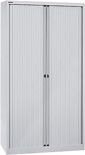 Bisley Armoire à rideaux Euro, largeur 1000 mm, 4 tablettes, gris clair - Armoire Armoire métallique Armoire à rideaux Arm...