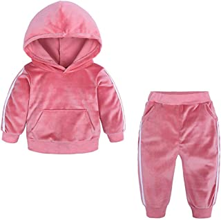 Kids Autumn Winter Fleece Warm Hooded Sweatshirt Toddler Kids Girl Boy Long Pants Outfits Set