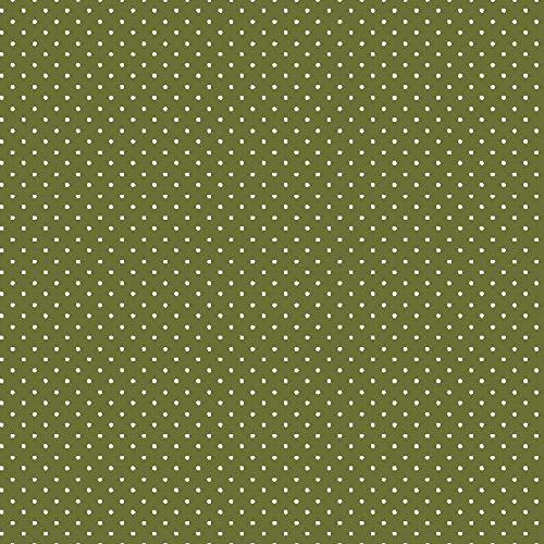 babrause® Baumwollstoff Pünktchen Olive Webware Meterware Popeline OEKOTEX 150cm breit - Ab 0,5 Meter