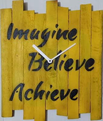 Imagine Believe Achieve Agoy Designs 11 * 9 Open face Hand Painted and Handcrafted Wooden Wall Clock.