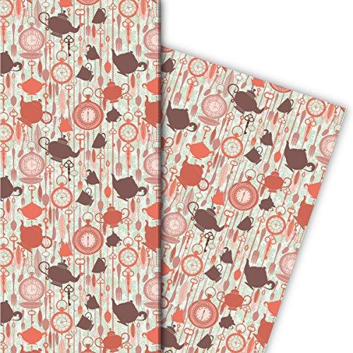 Kaartenkaufrausch magische theepotten Wonderland cadeaupapier set rood bruin set 4 vellen, decoratief papier, patroonpapier met horloges, voor mooie cadeauverpakking, designpapier 32 x 48 cm
