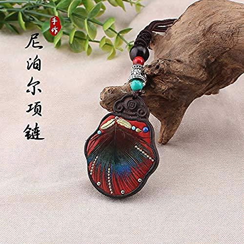 Xianglsp Co.,ltd Collar étnico de Plumas de Pavo Real a la Moda para Mujer, joyería de Nepal, suéter Largo de Madera de ébano Negro Hecho a Mano, Collar Vintage