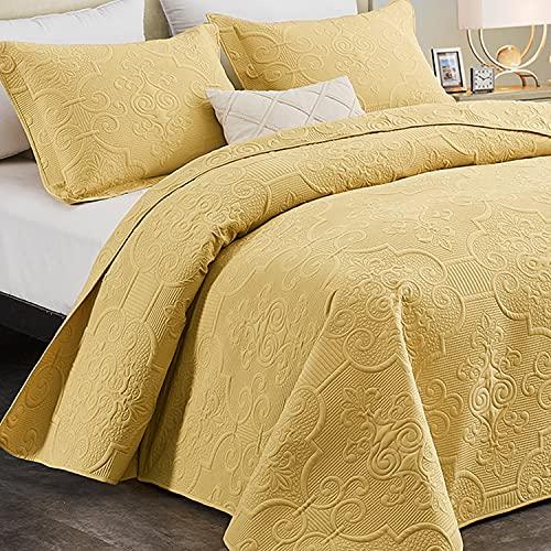 CHIXIN Tagesdecke 240x260 cm Bettüberwurf Steppdecke Patchwork Wendedesign Bettdecke Stepp Decke 3 Teilig Tagesdecken mit 2 Kissenbezug 50 x 70cm, Gold