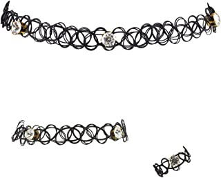 Rhinestone and Black Tattoo Choker Bracelet and Ring Set 3pcs