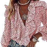 Charmlinda Camisa casual con cuello en V y volantes para mujer, manga larga, botones sueltos, blusa de gasa floral, rosa, XXXL
