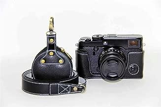 Handmade Genuine Real Leather Half Camera Case Bag Cover for Fuji X-Pro 2 Fujifilm X-Pro2 Bottom Opening Version + Neck Strap + Mini Storage Bag - Black