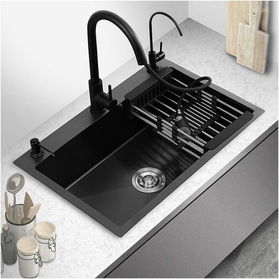 Amazon Com Kitchen Sink Black Nano Stainless Steel Sink Large Single Basin Kitchen Sink Under Counter Basin Sink Large Capacity Sink Single Basin Sink Stainless Steel Kitchen Sink Size A Home