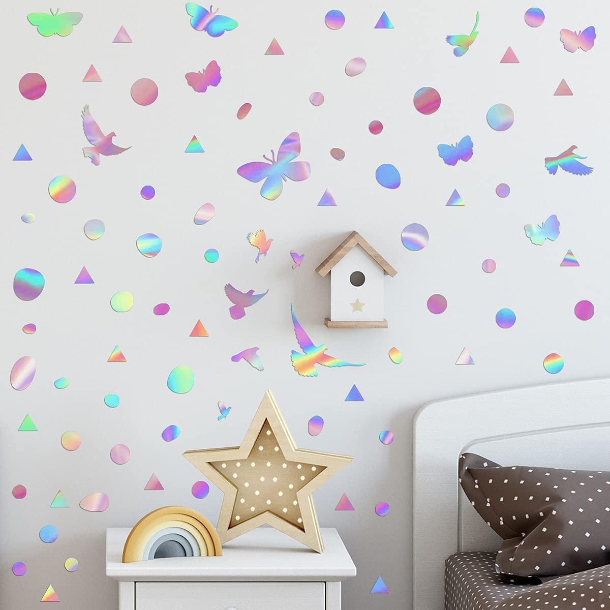 Holographic Film Wall Sticker Laser Rainbow Wall Decal Circle Butterfly Pigeon Triangle DIY Combination Reflective Colorful Home Decoration for Glass Door Window Porch Girl Bedroom Nursery Living Room