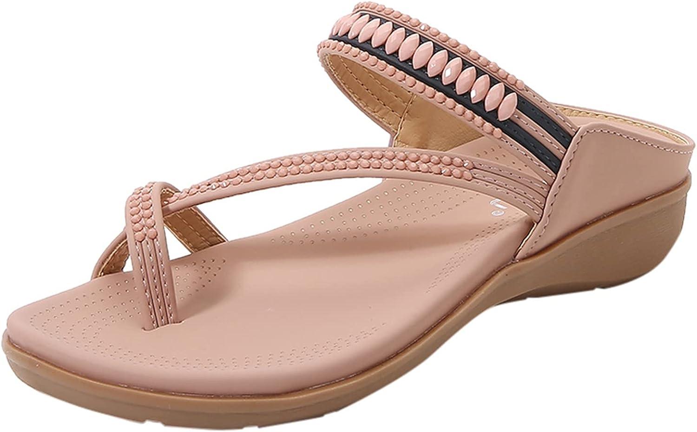 FAMOORE Casual Wedge Sandals for Women Comfortable Flower Clip Toe Summer Beach Sandals Fashion Ladies Bohemia Platform Dress Shoes