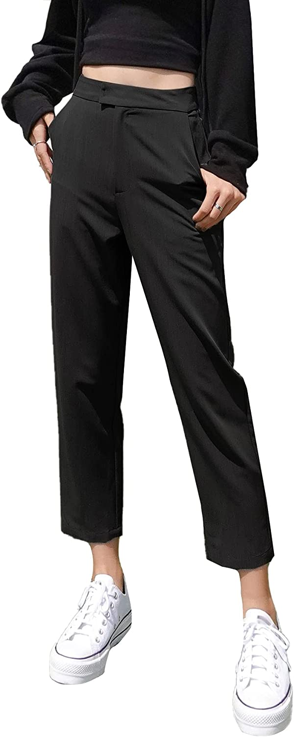 Floerns Women's Casual High Waisted Capri Work Pants with Pocket