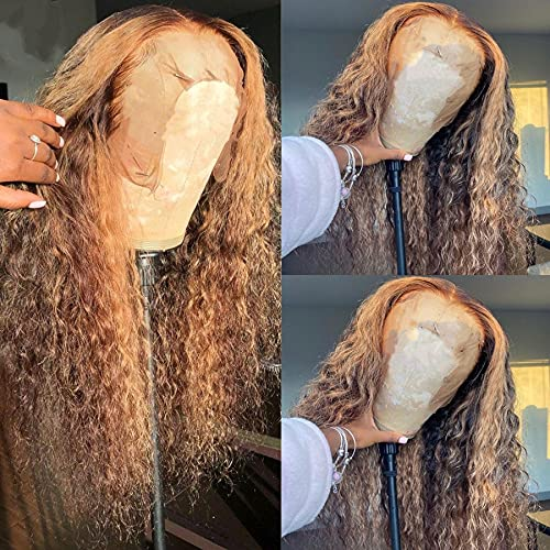 Highlight 27 Colored 13x4 Lace Front Human Hair Wigs Long Curly Brazilian Lace Front Wigs Human Hair Bleached Knots With Baby Hair 150% Density Pre Plucked