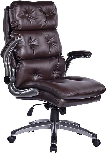 Bürostuhl Chefsessel schreibtischstuhl Ledersessel Klapparme Dicke Polsterung für Komfort und ergonomisches Design für Lendenwirbelstütze