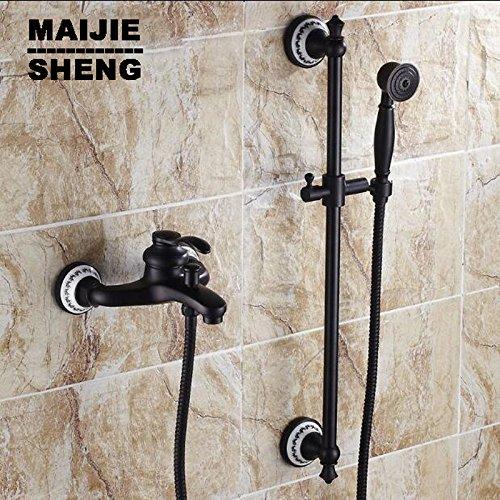 Luxurious shower Mit Handbrause schwarz orb Dusche Badezimmer schwarze Wand Mischbatterie Dusche mit Lifter Dusche Bad einfache Badewanne mixer Set, Weiß