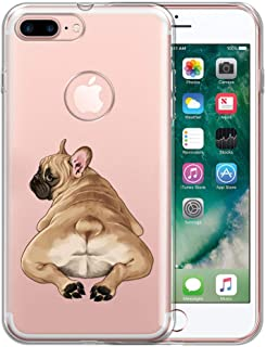 FINCIBO Case Compatible with Apple iPhone 7 Plus/iPhone 8 Plus, Clear Transparent TPU Protector Case Cover Skin for iPhone 7 Plus / 8 Plus (NOT FIT iPhone 7/8) - French Bulldog Butt Looking Back