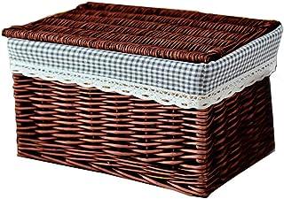 Boîte de rangement Paniers De Stockage Lidded Bacs De Rangement Commodes en Rotin Conteneur Léger Empilable Cube Lavable V...