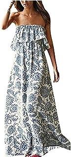 f039d4a8cdb9 Luojida Vestito a Fiori Donna Abito Maxi Vestiti con Rouches Dress di Senza  Maniche Eleganti Vestito