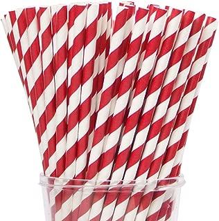 Webake Paper Straws Biodegradable Bulk 144 Red Striped Drinking Straws, Great Alternative Disposable Straws to Plastic Straws Eco Friendly Straw for Christmas Party, Cake Pop Sticks