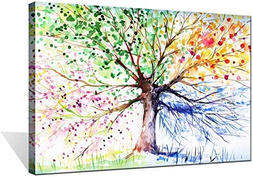 Biuteawal Colorful Seasons Tree of Life Canvas Print Paintings Wall Art Modern Landscape Abstract product image