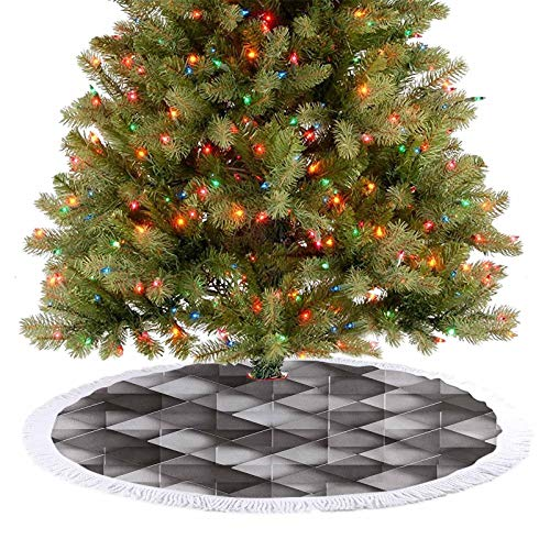 Homesonne Soft Christmas Tree Mat Geometrical Design with Grey Ombre Colored Squares Print Xmas Tree Holiday Decorations for Christmas Tree Holiday DéCor Black White Grey and Charcoal Grey 92 cm