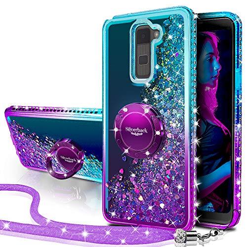 LG Stylo 2 V Plus Stylus Hülle, silberfarbene Rückseite, bewegliche Flüssigkeit, holografische Glitzer-Hülle mit Ständer, Bling Diamant Strass Bumper Ring Ständer Slim Protective LS 775, violett