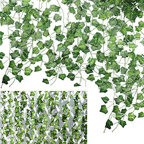 Vid de Hiedra Artificial 12 Piezas,Plantas de Guirnalda Colgante,Decoración para la Pared del Banquete de Boda del Restaurante del jardín del hogar