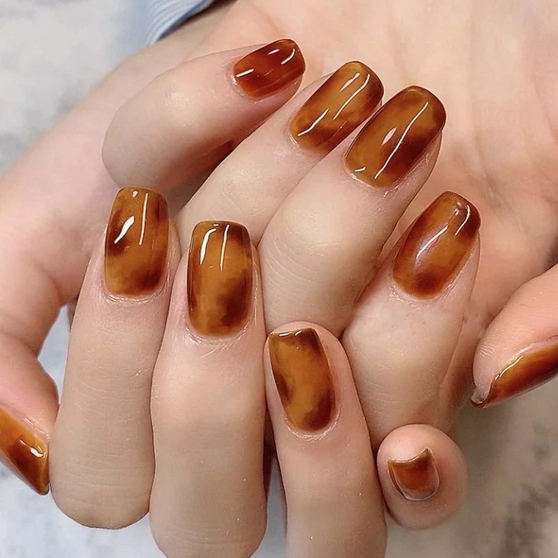 YoYoee Fake latest Nails Short Superior Amber Full Acrylic on Press Square