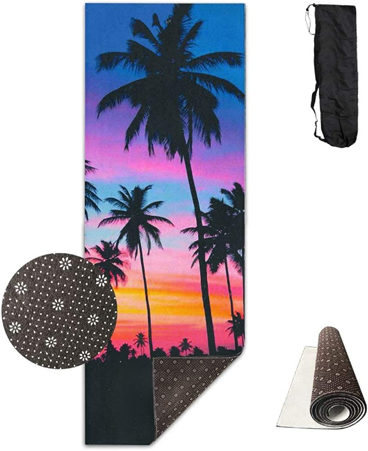 Purple Beach Palm Trees Yoga Mat 72X24 Inch Premium Print NonSlip EcoFriendly AntiTear Floor Pilates Exercise Mat for Yoga, Workout, Fitness with Carrying Strap