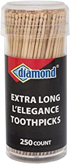 Diamond Specialty Toothpicks Long L'Elegance, 250 Count Vial Long Wooden Toothpicks for Appetizers, Cocktails, Teeth, Crafts (Thrее Рack)