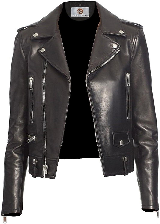 Faam Collection Class Apart Biker Lambskin Leather Biker Jacket for Women Black