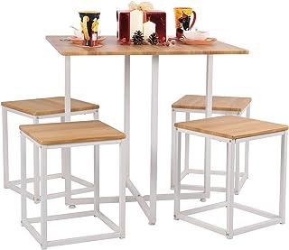 MEUBLE COSY Ensemble à manger 1 table et 4 chaises Style Scandinave Ensemble de Table et Tabourets Salle à Manger Cuisine ...