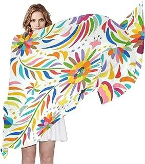 Scarf Mexican Colorful Ornate Ethnic Bird Flower Ladies Thin Shawl Wrap Girls Chiffon Scarves