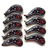 SUNBRO Golf 9pcs (4,5,6,7,8,9,A,P,S) Enamel Luxury Embroidery Greek Culture Poseido Trident Golf Iron Cover Headcovers Head Cover Set Suitable for Right & Left Handed Zipper Closure (BlackRed)
