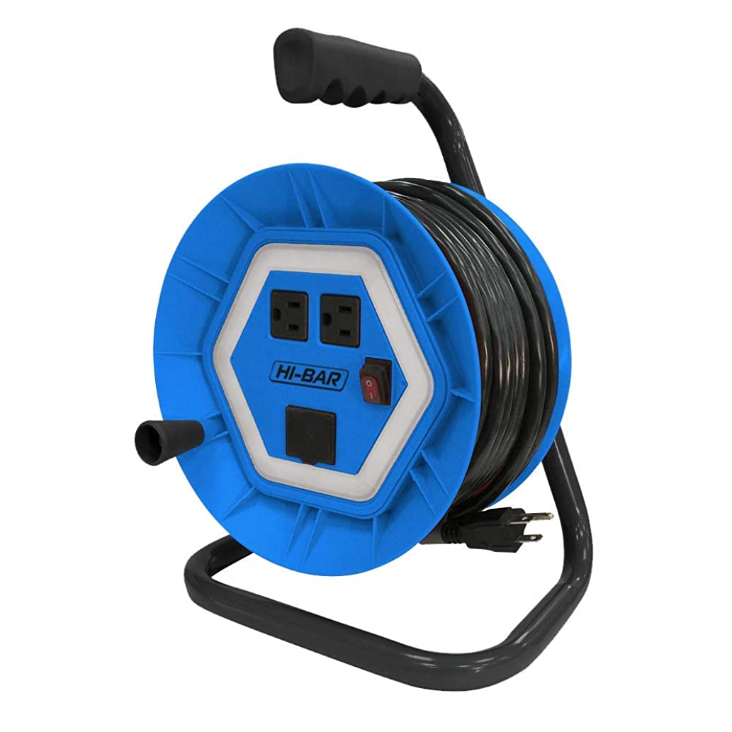 Hi-Bar Cord Reel Wrap Extension with Metal Frame and Plastic Housing, Retractable Black Cable Extender with dual outlets and charging port - 50 feet 14/3 SJTW