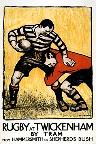 Playing Rugby Football at Twickenham England United Kingdom UK Vintage Poster Repro 20
