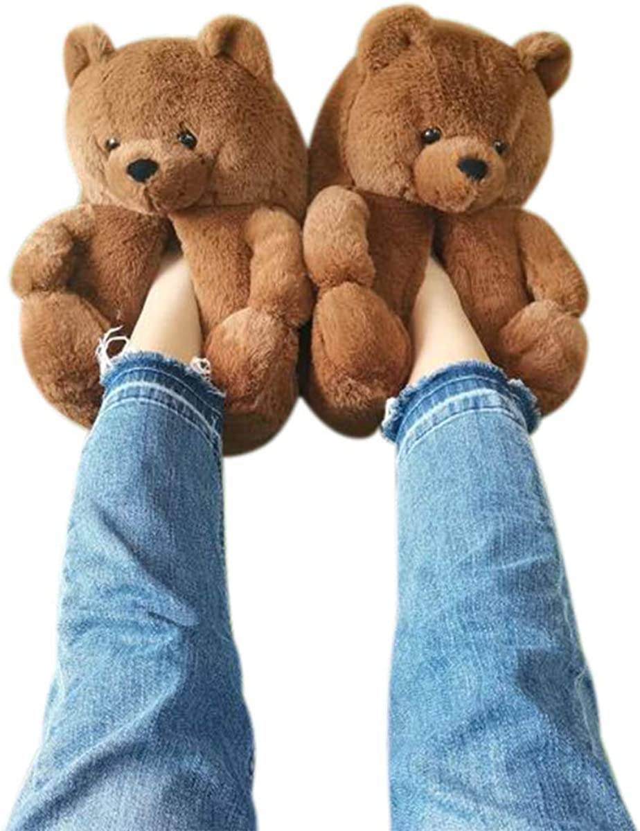 DreamQi Cute Teddy Bear Columbus Mall Slippers Award-winning store Soft Plush Fashion H