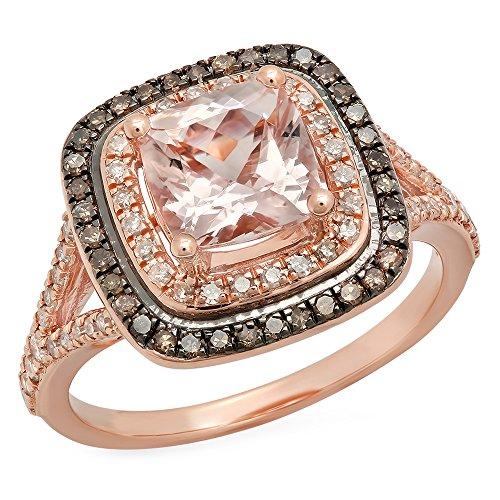Damen Ring 14 Karat Rose Gold Cushion Schnitt Echte Morganite And Rund Schnitt Champagne & Diamant Verlobungsring