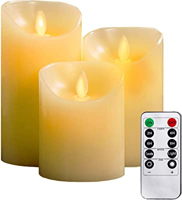 """YIWER Flameless Candles, 4"""" 5"""" 6"""" Set of 3 Real Wax Not Plastic Pillars, Include Realistic Dancing LED Flames and 10-Key Remote Control with 2/4/6/8-hours Timer Function, 300+ Hours (3, Ivory)"""