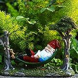 ZIFON Estatua de gnomo de jardín única estatua de gnomo de resina decorativa enana elfo escultura gnomos mentira en hamaca hada adornos en miniatura para el hogar, escritorio, jardín, patio, césped