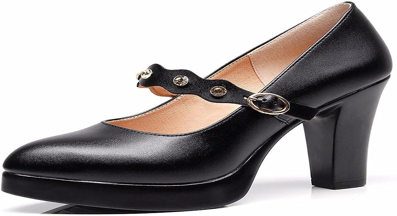 HBDLH-Damenschuhe Das Leder Ist Dick mit Dem Modell Cheongsam Schuhe Schuhe Schuhe Die Wasserdichte Tabelle Schuhe und Die Schnallen.  3da7ab