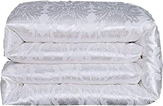 Hxiang Pure Mulberry Silk Comforter Silk Duvet Silk Quilt Silk Filled Comforter Doona Blanket Coverlet Bedspread for King Size Winter Season use (Queen, White)