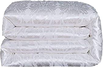 Hxiang Pure Mulberry Silk Comforter Silk Duvet Silk Quilt Silk Filled Comforter Doona Blanket Coverlet Bedspread for King Size Winter Season use (King, White)